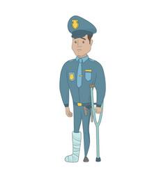 Injured young hispanic policeman with broken leg vector