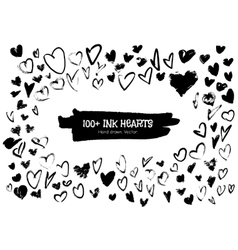 Ink hearts for valentines design creation vector image