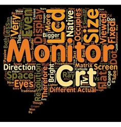 Lcd vs crt monitor comparison text background vector