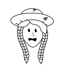 Line pretty woman face with hat vector
