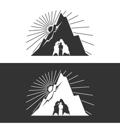 Miner against Mountains Design Element vector image vector image