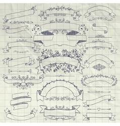Pen drawing floral design elements ribbons vector