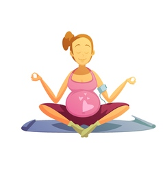 Pregnancy yoga exercises retro cartoon poster vector