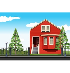 Red house by the road vector