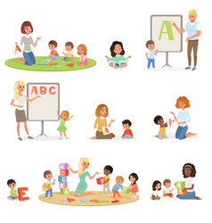 Set of children doing speech therapy with teachers vector