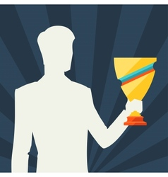 Silhouette of man holding prize cup vector