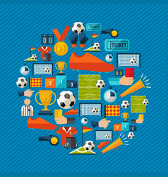 soccer game sport icon set in flat style vector image vector image
