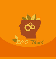 think green ecology concept of human with leaf on vector image vector image