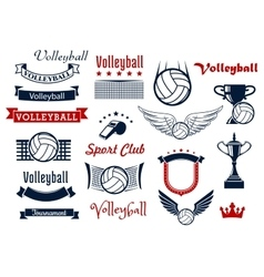 Volleyball game sports icons and symbols vector