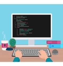 Man programmer hands working on his pc computer vector