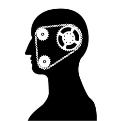Gear and chain brain silhouette vector