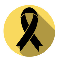 Black awareness ribbon sign  flat black vector