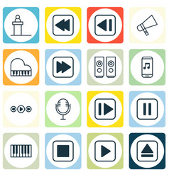 set of 16 multimedia icons includes music control vector image