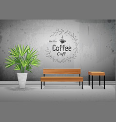 Tropical tree in cement pots with wooden chair vector