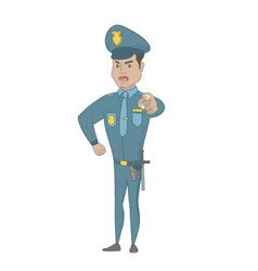 Serious hispanic police officer pointing at you vector