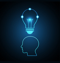 Technology future light bulb head vector