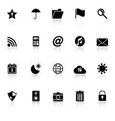 Tool bar icons with reflect on white background vector