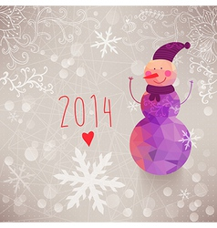 Winter backdrop with snowman made of triangles vector