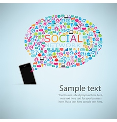 Template design phone idea with social network vector