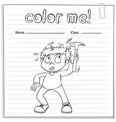 Coloring worksheet with a boy holding a hammer vector