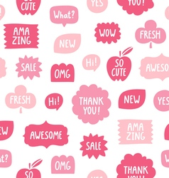 Pink color phrases seamless pattern on white vector