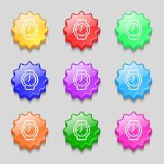 Watches icon sign symbol on nine wavy colourful vector