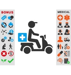 Drugs motorbike delivery icon vector