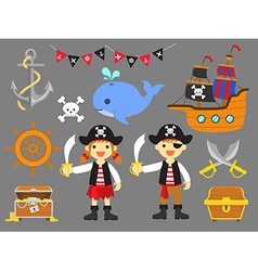 Ahoy matey summer fun pirate children clip art vector