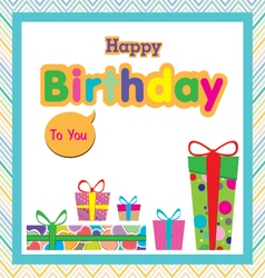 Happy birthday with colorful gift on colorful vector