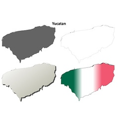 Yucatan blank outline map set vector