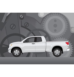 Pick-up truck with background vector