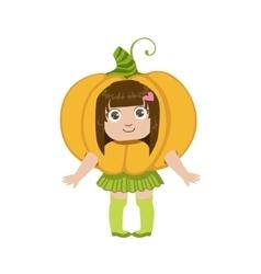 Girl dressed as pumpkin vector