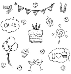 Birthday set doodle art vector