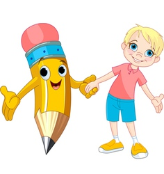 Boy and pencil vector