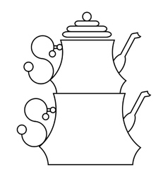 Turkish teapot icon outline style vector