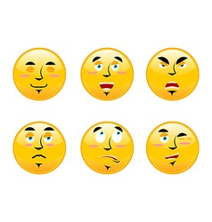Set of emoticons on white background cartoon vector