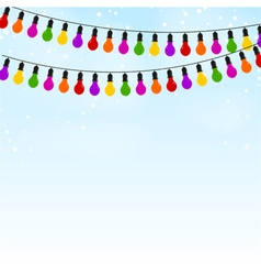 Garland colored lights on blue festive background vector