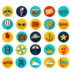 Summer holiday flat icons with long shadow vector
