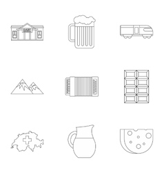 Attractions of Switzerland icons set vector image vector image