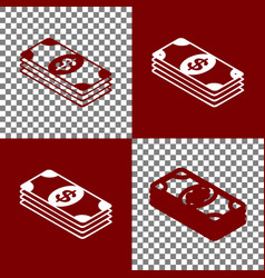 Bank note dollar sign bordo and white vector