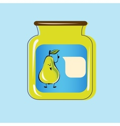 Bank with home canned pears design vector