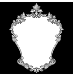 Baroque ornamental antique silver frame on black vector