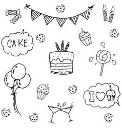 Birthday set doodle art vector