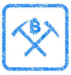 Bitcoin mining hammers framed stamp vector