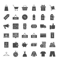 Black friday solid web icons vector