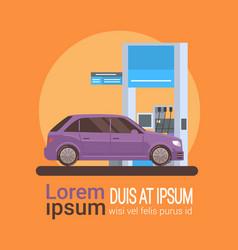 Car fueling at gas petrol station vector