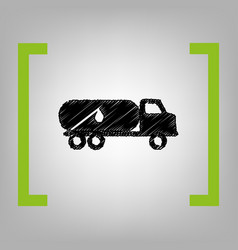 Car transports oil sign black scribble vector