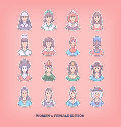 cartoon people icons woman girl female design vector image vector image