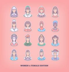 cartoon people icons woman girl female design vector image
