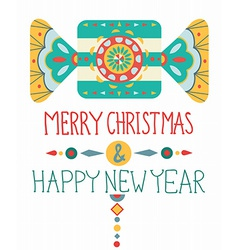 Christmas background with geometric ornament vector